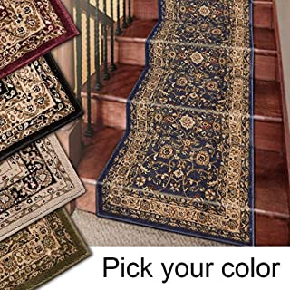 Marash Luxury Collection 25' Stair Runner Rugs Stair Carpet Runner with 336,000 Points of Fabric Per Square Meter, Navy