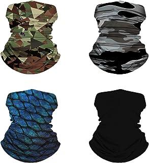 4 PACK Bandana Headband Buff Head wrap Face Mask Scarf Soft Stretchy Material for Men Women for Running Cycling Hiking Yog...