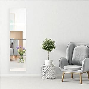 JASANMAXMIRROR Full Length Mirror Tiles Set, 10 Inch x 4 Pieces, Frameless Wall Mirror for Home Gym, Bedroom, Living Room, Bathroom Decor