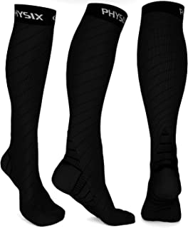 Physix Gear Sport Compression Socks for Men & Women 20-30 mmhg - Athletic Fit (1 Pair)