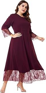 فستان ماكسي فضفاض للنساء من MAI&FUN مع دانتيل كاجوال مقاس إضافي فساتين للنساء أحمر