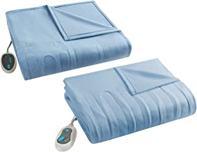 Beautyrest Fleece 2 Piece Electric Blanket Combo Ultra Warm and Soft Heated Throws Bedding Set with Auto Shutoff, Twin, Blue