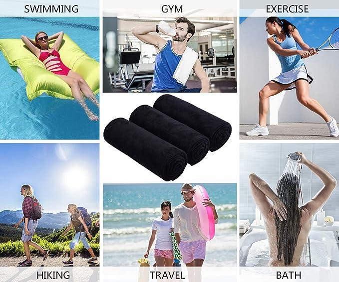 Acampada Paquete de 3 LIRITE Toallas de Gimnasio de Microfibra para Deportes Yoga para Gimnasio Secado r/¨/¢Pido y Absorbente 40 cm x 80 cm Fitness