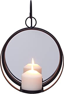 Danya B. Round Wrought Iron Pillar Candle Sconce with Mirror – A Decorative Rustic Metal Hanging Wall Candleholder