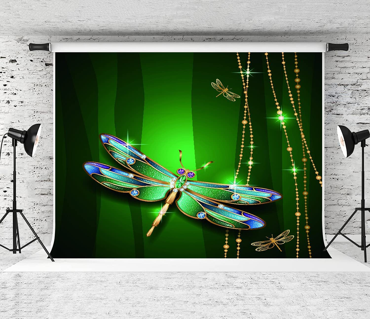 VINISATH Store Photography Background Beauty on Green OFFer Jewel Dragonfly