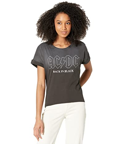 Chaser AC/DC- Back In Black Recycled Vintage Jersey Rolled Short Sleeve Tee