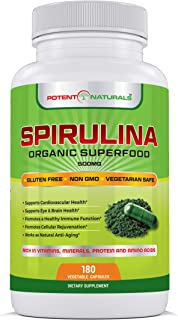 Potent Naturals Organic Spirulina 3000mg   180 Veggie Caps   Pure Green Algae Superfood Dietary Supplement - Rich in Protein, Vitamins, Minerals, Amino Acids - Vegetarian Safe, Non GMO, Gluten Free