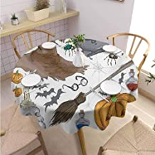 DILITECK Halloween Banquet Round Tablecloth Magic Spells Witch Craft Objects Doodle Style Illustration Grunge Design Skull Printed Tablecloth Diameter 60