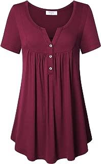 Ca Kra Tunics for Women, Short Sleeve Tunic Tops Henley Shirts for Leggings