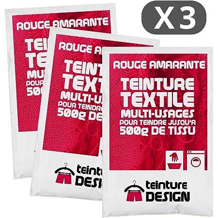 Lote de 3 bolsas de tinte textil, color rojo amaranto, tinte universal para ropa y tejidos naturales