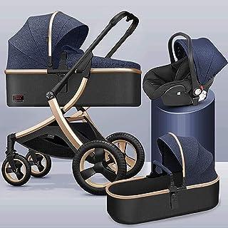 YQLWX 3 i 1 vikbar barnvagn, aluminiumlegering barnvagns barnvagn, fyrhjulsgummi stötdämpning, barnvagn med myggnät och fo...