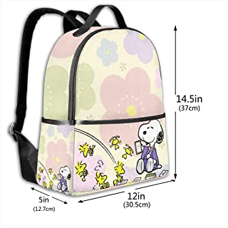 Classic School Backpack Snoopy with Flower Unisex College Schoolbag Travel Bookbag Black
