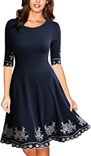 Miusol Women's Vintage Style Embroidered Evening Party Swing Dress