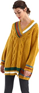 BodiLove Women's Relaxed Fit V Neck Cable Knit Varsity Style Sweater