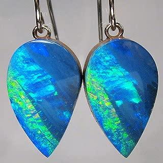 Opal Earrings 14k White Gold Natural Australian Dangle Jewelry Gift 14.4ct A91
