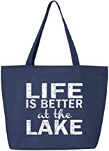 Shop4Ever Life is Better at the Lake Heavy Canvas Tote with Zipper Sayings Reusable Shopping Bag 12 oz Navy -Pack of 1- Zip