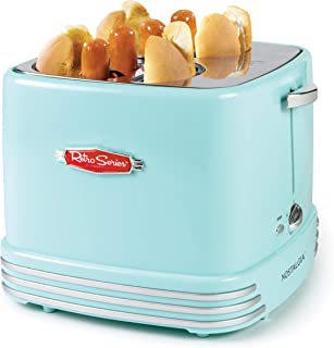 Nostalgia RHDT800AQ Retro Pop-Up 4 Hot Dog and Bun Toaster With Mini Tongs, Works With Chicken, Turkey, Veggie Links, Sausages and Brats-Aqua