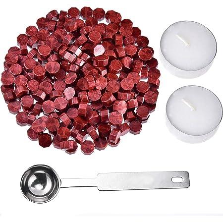 Jieddey Kit de Cire pour Xceau,240 PCS Perles de Cire à Cacheter PCS+2 Bougie de Thé Blanc+1 Cachetage d'octogone de Cuillère Sceau Cire pour Cachet de Cachet de Cire Rouge