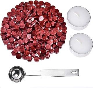 Jieddey Kit de Cire pour Xceau,240 PCS Perles de Cire à Cacheter PCS+2 Bougie de Thé Blanc+1 Cachetage d'octogone de Cuill...