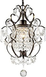 GNDS Modern Crystals Chandeliers,Small Chandelier Pendant Lighting,Ceiling Lights Fixtures for Living Room Bedroom Restaurant Dining Room,Bronze,1-Light