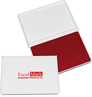 "ExcelMark Ink Pads for Rubber Stamps Medium Size 2-5/8"" by 4-1/4"" (Red)"