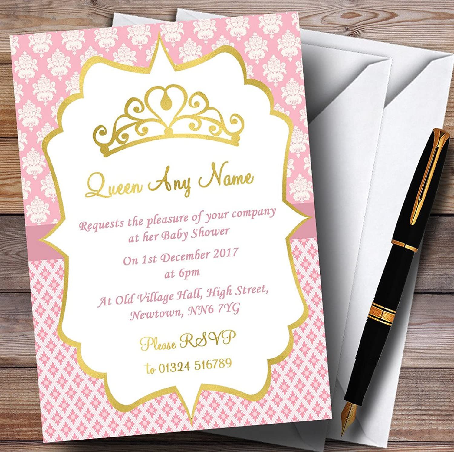 Pink & gold Crown Princess Invitations Baby Shower Invitations