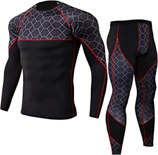Men's Gym Running Base Layer Top and Leggings Set Long Sleeve Compression Shirt Tights Thermal Underwear Suit,Lightweight,...