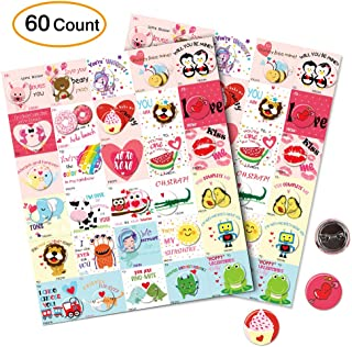 Valentine's Day Cards With Buttons Pins Valentines Favors For Kids School Gift-60 Count