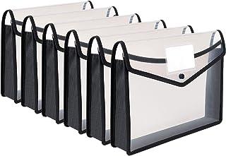 Pochette Plastique A4, 6 Pcs Enveloppe Transparente Chemise à Bouton Pression Polypropylène Porte-Document Extensible Fich...