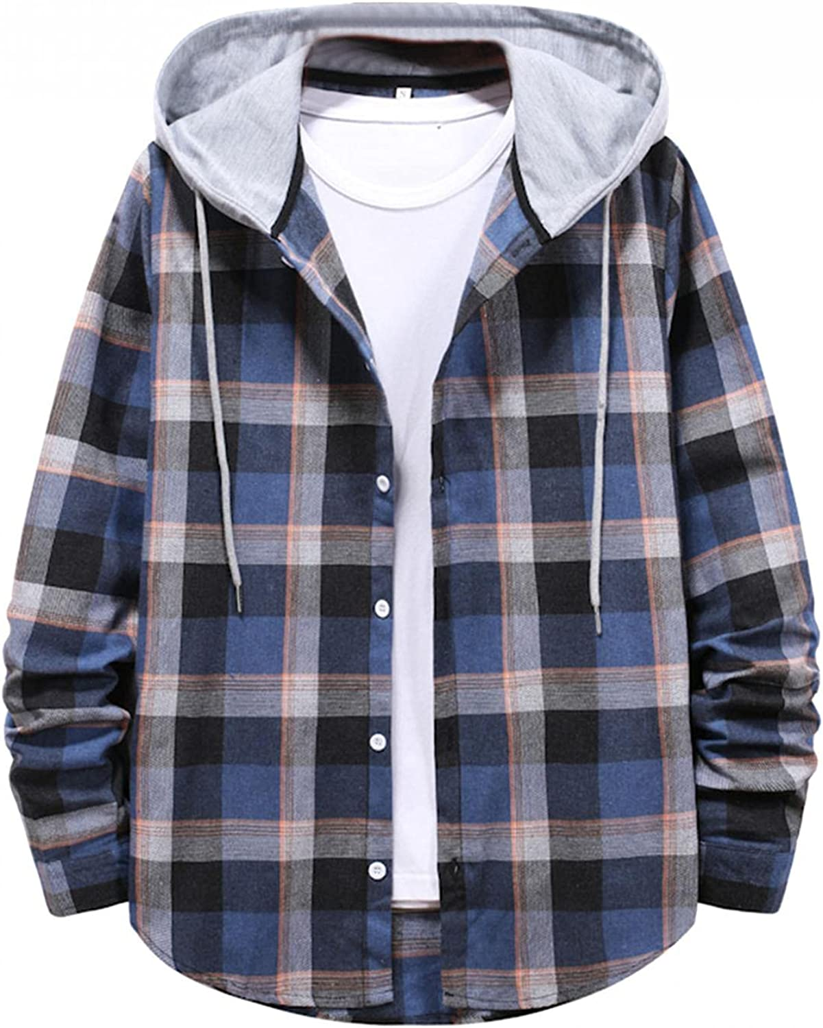 LEIYAN Mens Plaid Hooded Jackets Long Sleeve Lightweight Casual Flannel Lined Button Down Warm Anorak Coat Outwear