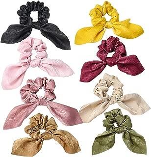 Hair Scarf Scrunchies for Women - (8 Pack) Hair Ribbon Scrunchie Silk,Cute Hair Scarves for Ponytail Holder ,Bow Scrunchies for Hair Chiffon Soft Elastic Hair Bands Scrunchy Hair Ties