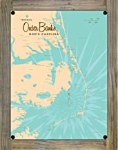 Outer Banks North Carolina Map Metal Print on Reclaimed Barn Wood by Lakebound 9