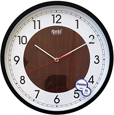 Ajanta Plastic Sweep Clock (30.3 cm x 30.3 cm x 4.5 cm, Brown)