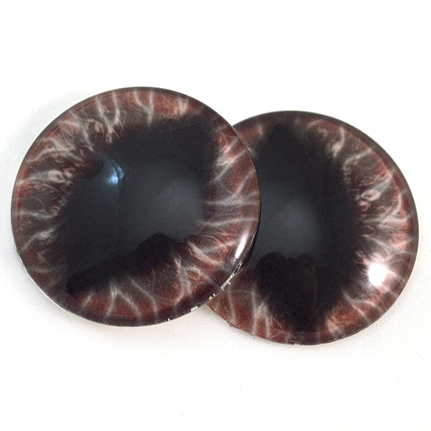 40mm Dark Red and Black Gothic Dragon Glass Eyes Fantasy Cabochons for Art Doll Taxidermy Sculptures or Jewelry Making Set of 2