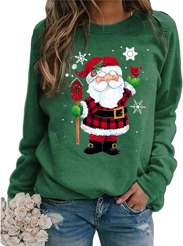 Long Sleeve Shirts for Women,Christmas Santa Claus Printed Graphic Pullover Shirts Crewneck Sweatshirt