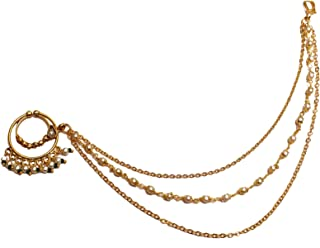 Glamorous Collection Gold Nose Ring Chain Nath Bridal Nose Ring/Indian Nose Hoop Wedding Jewelry