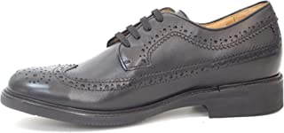 Handmade Large Numbers Swallow Tail Black Calf with Laces, Brogue Style, Made in Italy
