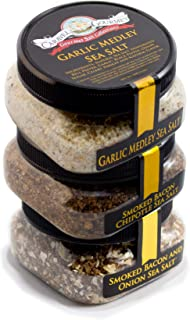 Gourmet Grilling Sea Salt 3-Pack - Smoked Bacon Chipotle Garlic Medley Smoked Bacon & Onion -A Delicious Combo Of Your Favorite Gourmet Salts At Great Price Gluten Free No-MSG Non GMO -12 Total Ounces
