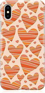 Loud Universe Case for iPhone XS Wrap around Edges Valentines Day Couples Beige Orange Love Heart Pattern Sleek Design Hea...
