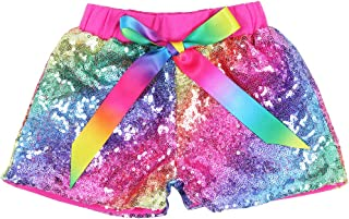 Cilucu Baby Girls Sequin Shorts Toddlers Sparkle Short Pants Kids Birthday Shorts Glitter on Both Sides