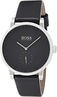 Hugo Boss Black Men'S Black Dial Black Leather Watch - 1513500