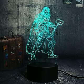 New Marvel Thor Cool Super Hero RGB 3D LED Night Light Desk Lamp Multicolor RGB Bulb Christmas Home Decor Kids Gift Novelty Toy (Thor)