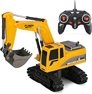 6CH Remote Control Excavator for Boys Remote Control Truck RC Tractor Construction Vehicles Toys with Lights & Sound for Boys Girls Kids 4 5 6 7 8 Year Old