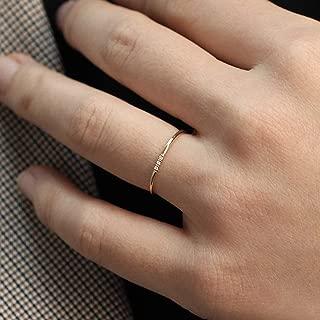 Minimalist Diamond Ring, 14k Solid Gold Diamond Band, 1.1mm Full Round Thin Ring with 1, 2, 3, 4 or 5 Stones 1mm Diamond, Wedding Engagement Ring