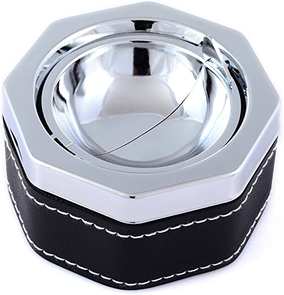 Buddha Smoking Accessories Stainless Steel Ashtray Sliver Faux Leather Ashtray With White Stitching With One Touch Of Your Finger The Ashtray Is Clean