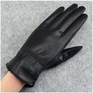 SHENTIANWEI Women's Leather Gloves Thicken Autumn and Winter Warm Winter Riding Gloves (Color : Thicken, Size : L)