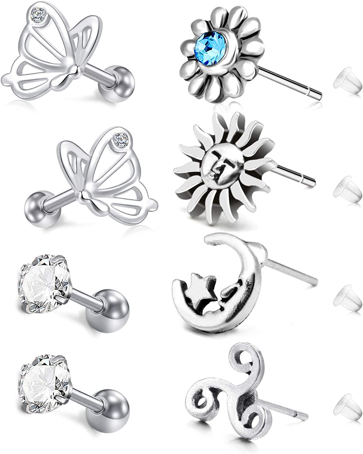 2Pcs Stainless Steel Barbell Ear Studs With Cz Hoop Cartilage Earrings Jewelry