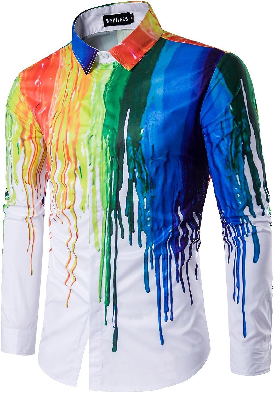 WHATLEES Mens Geek Psychedelic Splash-Ink Printed Slim Fit Long Sleeve Dress Shirts