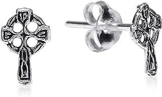 Faith Eternal Mini Celtic Cross .925 Sterling Silver Stud Earrings