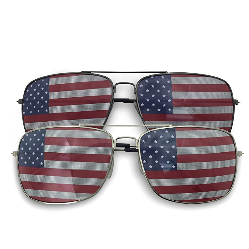 2 Pack Bulk USA Flag America Glasses - Square Aviator Style Sunglasses